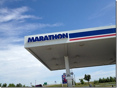 "A ""MARATHON"" gas station as we are on our way to run a MARATHON?! Cheesy I know, but hey, we were pumped!"