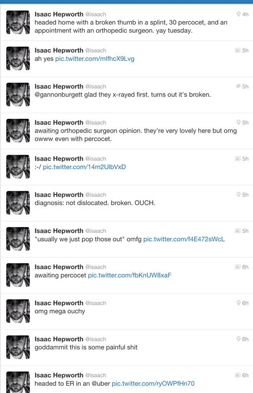 isaac's thumb tweets