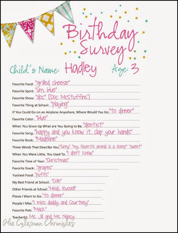 Hadley3rdbirthday survey