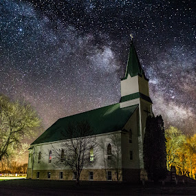 Milky Way Church by Aaron Groen - Landscapes Nightscapes ( sky, church, stars, south dakota, milky way )
