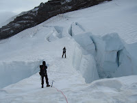 Crossing over a crevasse.