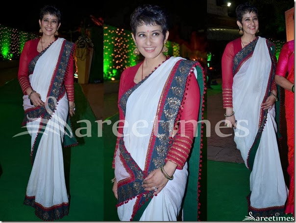 Manishs_Koirala_White_Saree