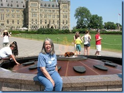 6088 Ottawa - Karen in front of the Centennial Flame  at Parliament Buildings - Centre Block