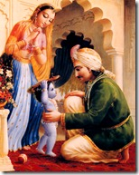 Nanda Maharaja with Yashoda and Krishna