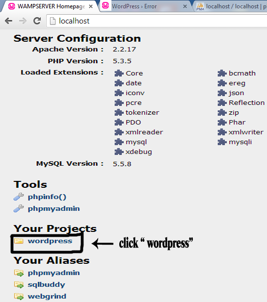wordpress folder