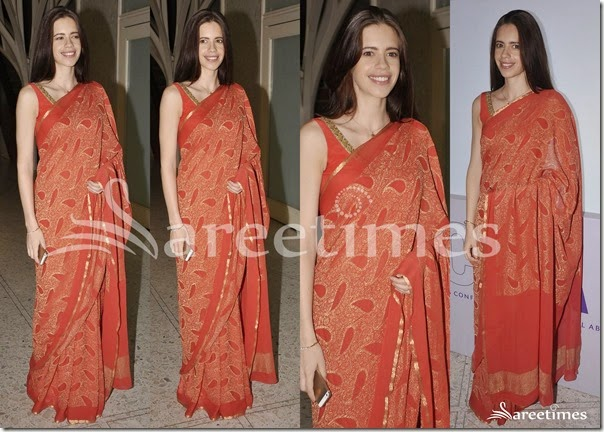 Kalki_Koechlin_PEach_Printed_Saree