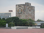 Central Library at UNAM (National Autonomous University of Mexico), designed by Juan O&#039;Gorman with stone mosaics