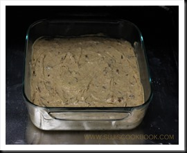 Pour into greased cake pan and bake