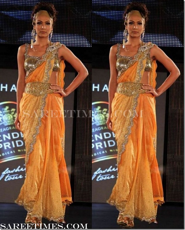 Reynu_Tandon_Orange_Designer_Saree
