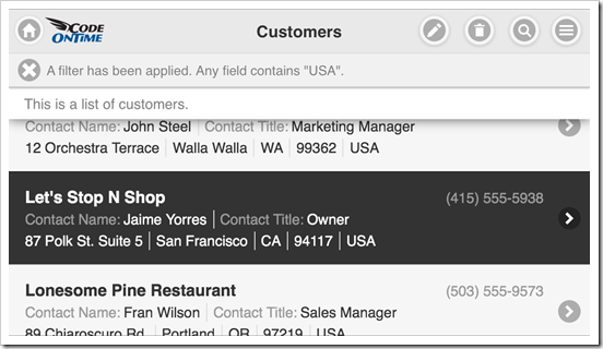 Mobile app created with Code On Time displayed in landscape orientation on Apple iPhone 5s.
