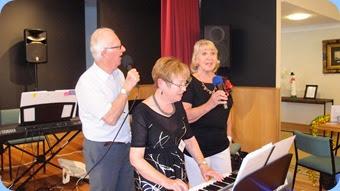 Our singing trio, Peter Jackson, Diane Lyons and Margaret Black. Photo courtesy of Dennis Lyons.
