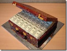 suitcase of money cake