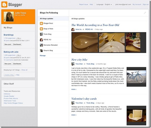 Blogger New Dashboard