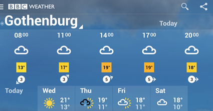 BBC Weather forecast for Gothenburg