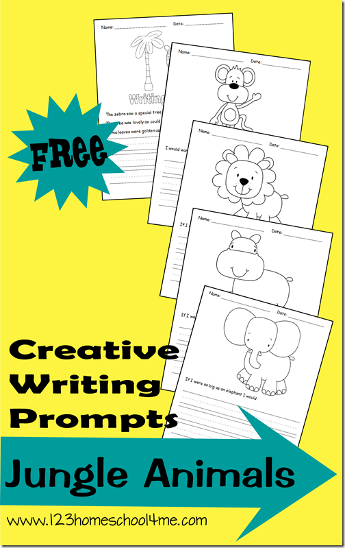 FREE Jungle Animal Writing Prompts for K-4th Grade #writingprompts #homeschooling