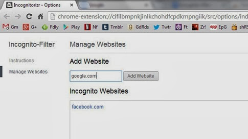 Incognito-Filter para Chrome
