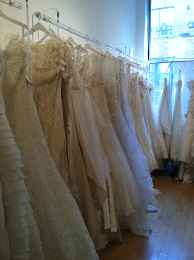 Racks of gorgeous gowns at The Sample Room incude Valentino, Elie Saab for Pronovias and Badgley Mischka