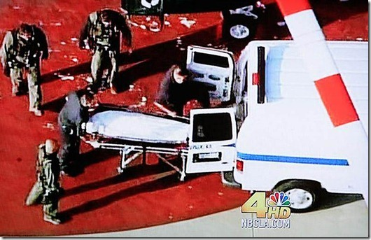 Body of Michael jackson is loaded into coroners van in Los Angeles...In this video frame grab from KNBC4 video, the body of pop singer Michael Jackson is loaded into a van to be taken to the Los Angeles County Coroner's office June 25, 2009. Michael Jackson, the child star turned King of Pop who set the world dancing but whose musical genius was overshadowed by a bizarre lifestyle and sex scandals, died on Thursday. He was 50. REUTERS/KNBC4/Handout (UNITED STATES OBITUARY ENTERTAINMENT IMAGES OF THE DAY) MANDATORY CREDIT - BUG MUST NOT BE CROPPED OR ALTERED QUALITY FROM SOURCE