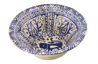 Basin for a mosque | Origin:  Iran | Period: 1700-1900 | Details:  Not Available | Type: Ceramic Modeled and glazed | Size: H: 26.9  W: 64.8   D: 64.8  cm | Museum Code: S1987.81 | Photograph and description taken from Freer and the Sackler (Smithsonian) Museums.