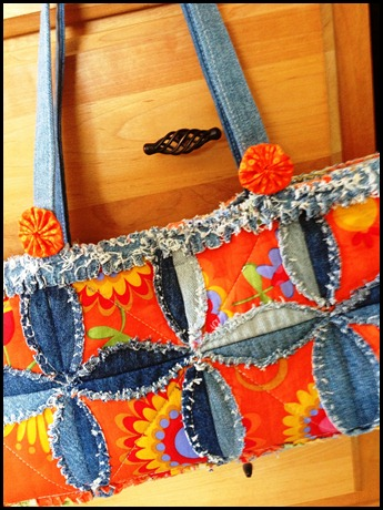 Denim Rag Quilt Embellished with Stars