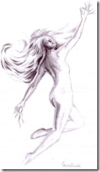 Femeia furtuna desen in creion - Storm woman pencil drawing