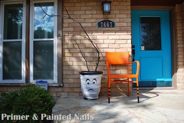 Spooktacular Planter After 2 - Primer & Painted Nails