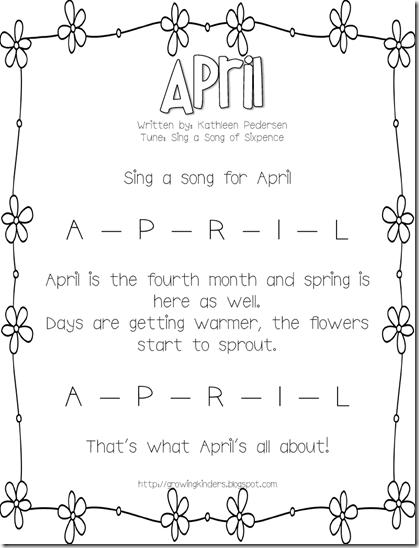 Monthly Calendar Rhyme : Growing kinders april calendar song