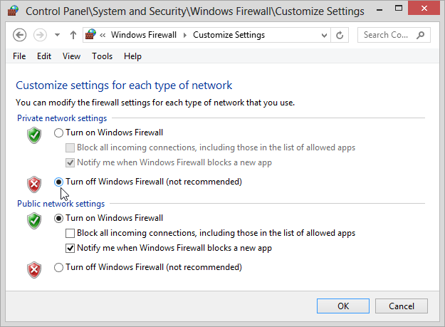 Turning off Windows 8 Firewall for Private Networks