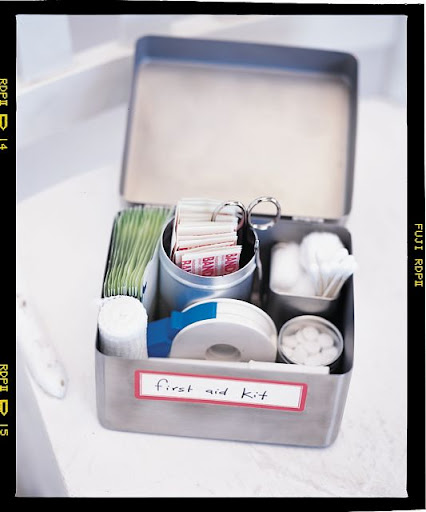 For the magazine, we've created a few custom first-aid kits using found containers.  This hinged top metal box makes a looks great looking kit.