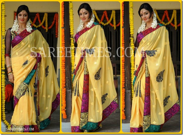 Vimala_Raman_Yellow_Designer_Saree