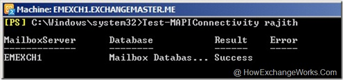 Test-MAPIConnectivity mailbox