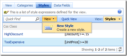 New Style action on the action bar of Styles tab in the Project Browser.