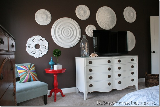 Remodelaholic | Ceiling Medallion Wall Art For Bedroom Makeover