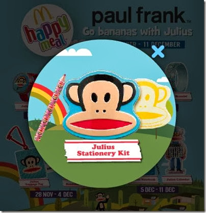 McDonalds happy meal X Paul Frank - Go Banana with Julius stationery kit