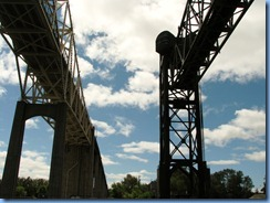 4992 Michigan - Sault Sainte Marie, MI -  St Marys River - Soo Locks Boat Tours - passing under International Bridge and International Railroad Bridge