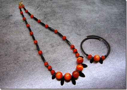black and coral necklace set