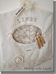 Clothespin Bag - Vintage with Laces
