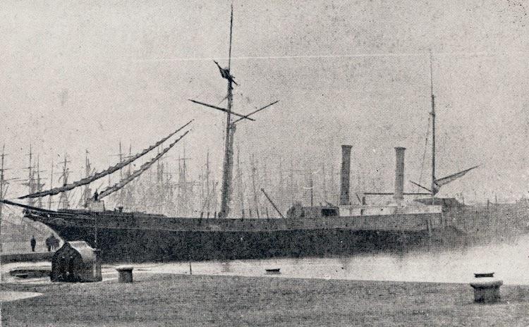 El vapor MALLORCA en Cardiff. Zarpo el 25 de febrero de 1865. En Palma el 7 de marzo. Capitan Don Miguel Morey. Foto cortesia de la familia Miró-Granada Gelabert. Foto J. Collings (Cardiff)..jpg