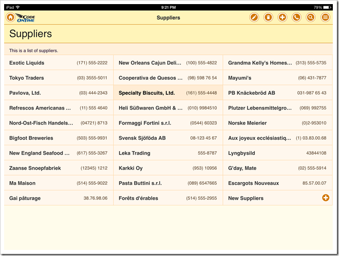 List with the fields tagged as 'item-heading' and 'item-aside' in an app with Touch UI.