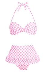 Hollywood gingham bikini top & highwaist brief by Boux Avenue