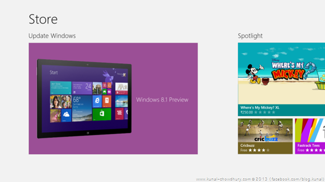 The new Windows Store ready to upgrade your Surface RT with Windows 8.1 Preview