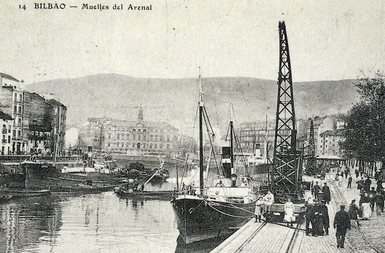 El MARIA MAGDALENAen Bilbao. Postal. Del libro El Puerto de Bilbao como Reflejo del Desarrollo Industrial de Vizcaya.JPG