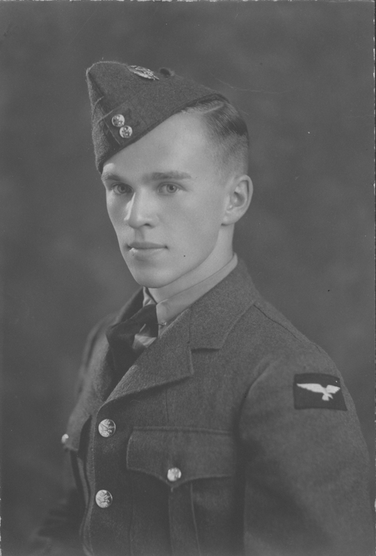J.J. Belanger military portrait at age 17 1/2 as a member of the Royal Canadian Armoured Corps (RCA). June 1942.