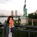 yuka and the statue of liberty at muscle park in tokyo in Odaiba, Tokyo, Japan