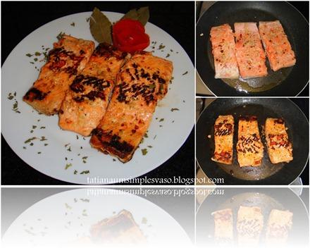 Usei folhas de louro, casca de tomate e salsinha picada para dá um toque de carinho ao servir esse delicioso salmão grelhado