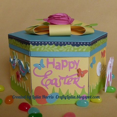 Exploding Easter box.  Created with CTMH Artiste & Art Philosophy Cartridges.  Created by Lalia Harris