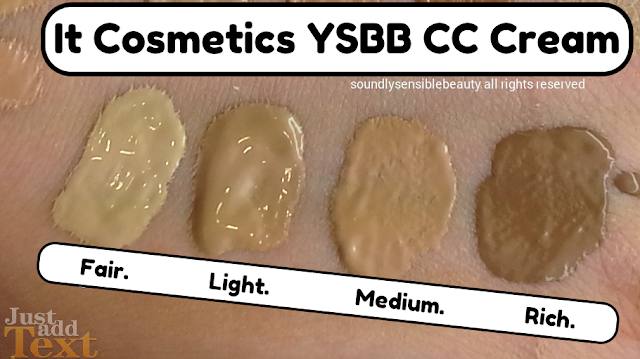 It Cosmetics, YSBB CC Cream; (Your Skin But Better Color Correcting Cream) SPF 50; Review & Swatches of Shades Fair, Light, Medium, Rich