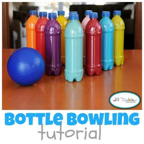 Bottle Bowling ~ Rainy Day Activities for Kids {Weekend Links} from HowToHomeschoolMyChild.com
