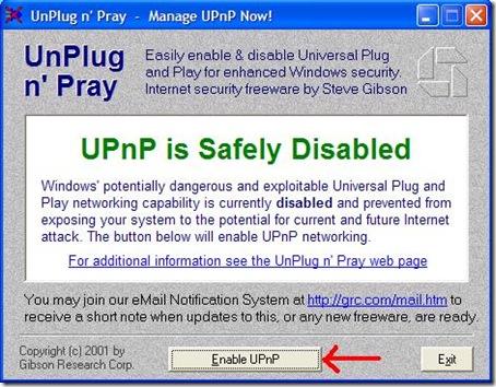 UnPlug n' Pray abilitare e disabilitare UPnP