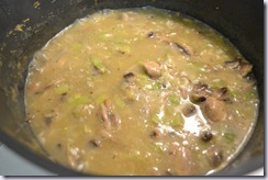 add mushroom, leek, chicken to stock